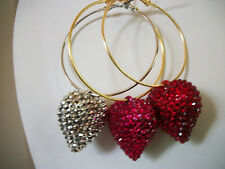 "2 1/4"" Tiny heart earrings hoops basketball wives rhinestones jewelry crystal"