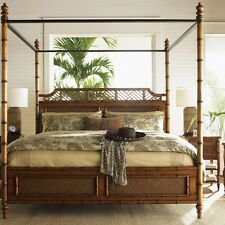 Coastal Tropical Island Four Poster Canopy Bed Rattan Bamboo Queen King Bedroom