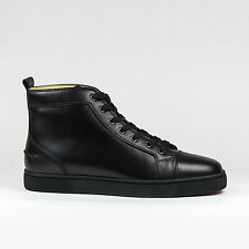 Auth Christian Louboutin Mens Louis Flat Black Calf Leather Classic Sneakers