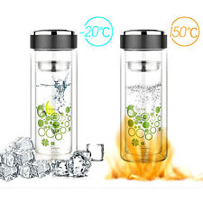 550ml Glass Bottle with Double-Walled Glass Water Tea Leaf Infuser Strainer
