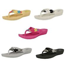 LADIES SPOT ON CASUAL RAISED WEDGE TOE POST FLIP FLOPS WITH FLOWER DETAIL F10281