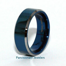 Tungsten Carbide Ring Blue IP Polished Flat Bevel Edge 8mm Wedding Band