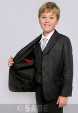 Boys Suit Grey Jacket Waistcoat Trousers Shirt & Tie Age 1-13 Years Milo New