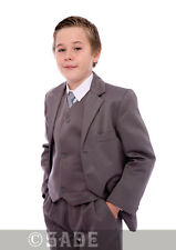 Boys Grey Suit Jacket Waistcoat Trousers Shirt & Tie 1-15 Years Free UK Delivery