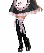 Ladies Sexy Black Stockings/Knee High Socks Pink Lace for French Maid Costumes