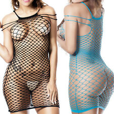 New Hot Women Fishnet Sexy Lingerie Dress Babydoll Sheer Sleepwear Nightwear US