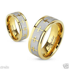 316L Stainless Steel Gold IP Two Tone Brushed Center Cross Band Ring, Sz 5-13