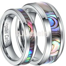 8MM/5MM Tungsten Carbide Abalone Shell Mens Women Wedding Band Ring FREE CHAIN