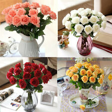 20 /10 pcs Latex Moisturizing Fake Rose Stem Wedding Home Flowers Rose Bouquet