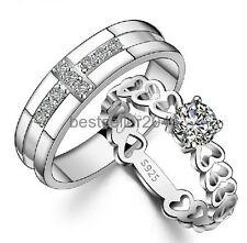 Silver Tone Cross CZ Eternity Open Heart Link Couples Engagement Wedding Ring