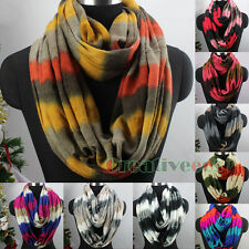 Fashion Women Multicolor Stripes Knit Warm Infinity Loop Circle Cowl Scarf New