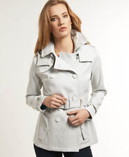 New Womens Superdry Cropped Super Raincoat Jacket Chalk Off White VH