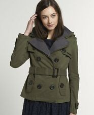 New Womens Superdry Vintage Cropped City Mac Jacket Army Green VH