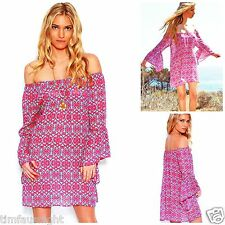 Hot Pink Turquoise Damask Chiffon Indie OFF SHOULDER BELL SLEEVE TUNIC TOP DRESS