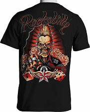 Rock A Billy Graphic T Shirt Skull Brass Knuckles Rock Guitar Small 3X Large