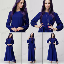 Islamic Muslim Kaftan Abaya Women Chiffon Long Sleeve Beach Maxi Dress Blue