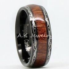 8mm/5mm Mens Women Laser Black Tungsten Carbide Ring Inlay Real Wood SIZE 5-13