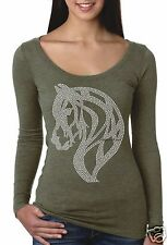 Bling Rhinestone ''HORSE'' Next Level Tri-Blend Woman Long Sleeve Scoop Tee.