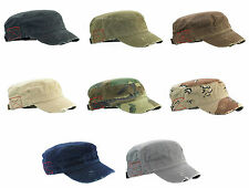 NEW DISTRESSED destroyed CADET MILITARY STYLE ARMY CAP HAT MANY COLORS AVAILABLE