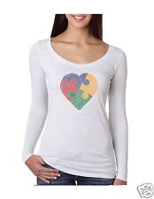 "Bling Rhinestone ""AUTISM HEART"" Next Level Tri-Blend Woman Long Sleeve Scoop"