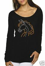 Bling Rhinestone ''MARE HORSE'' Next Level Woman Tri-Blend Long Sleeve Scoop