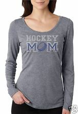 Bling Rhinestone ''HOCKEY MOM'' Next Level Woman Tri-Blend Long Sleeve Scoop