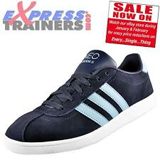 Adidas Mens Vlneo Court Casual Classic Suede Leather Trainers Navy * AUTHENTIC *