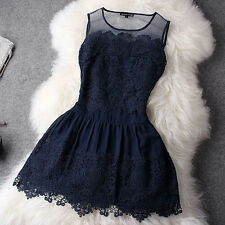 New Sexy Fashion Women Summer Round Neck Lace Bodycon Mini Party Evening Dress