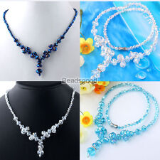 """1pc Crystal Glass Faceted Rondelle Spacer Beads Statement Jewelry Necklace 18""""L"""