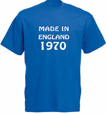 Made In England 1970, 71, 72, 73, 74, 75, 76, 77, 78, 79 T-Shirt in blue.