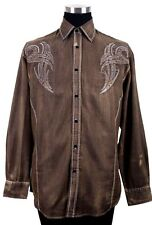 Men's Tribal Border Embroidered Design Western Cowboy Brown Shirt Stonewashed 43