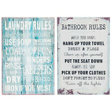 Laundry/Bathroom Rules Metal Wall Plaque Sign