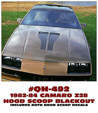 QH-492 1982-84 CHEVY CAMARO - Z28 HOOD SCOOP BLACKOUT DECAL KIT - HOOD INSERTS
