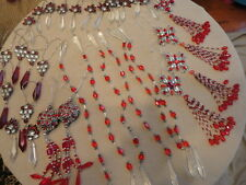 Christmas Ornament Red White Crystal Glass Plastic Beaded Dangles Bling