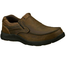 64299 DK Brown Skechers Shoes Men Slip On Memory Foam Relaxed Fit Leather Loafer