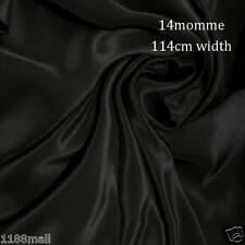 "#2 black pure silk dress fabric 45"" wide 14momme crepe de chine soft cloth"