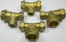 COMPRESSION UNEQUAL BRANCH or END REDUCING TEE 15 22 35 42 54 mm BRASS FITTINGS