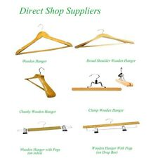 Wooden Clothes Hangers For Trouser Skirt Shirt Coat with bar, clips, non slip