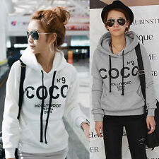 HOT Womens COCO Print Hoodies Varsity Hooded Sweater Coat Outerwear Tops Blouse