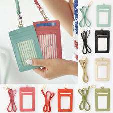 ID Window Card Holder Card Cases Badge Necklace Leather Neck Strap Lanyard Korea