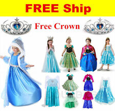 Girls Frozen Princess Queen Elsa Anna Cosplay Costume Party Fancy Dress Birthday