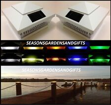 Solar Post Cap Deck Fence Color LED Lights 5x5 or 6x6 White Colored 6 Pack