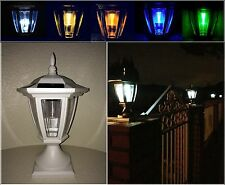 Solar Light White Post Cap Color LED 4x4 /5x5 / 6x6 Or Wall Mount Hexagon 2 Pack