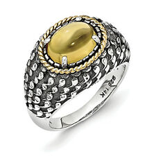 Citrine Antiqued Ring .925 Sterling Silver & 14K Gold Accent Sz 6-8 Shey Couture
