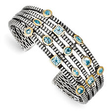 Sky Swiss & London Blue Topaz Cuff Sterling Silver Gold Tone Shey Couture