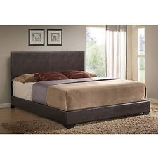 Ireland Upholstered  Bed Platform frame w headboard leather full queen king NEW
