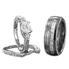 His Hers Wedding Ring Set Sterling Silver Round Cubic Zirconia Titanium Band IP