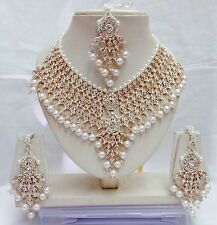 Indian Traditional Ethnic Jewellery Women Wear Diamante Necklace Earring Sets