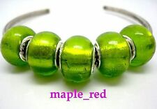 Fashion Pure Green Foil European Style Lampwork Glass Beads fit Charm Bracelet