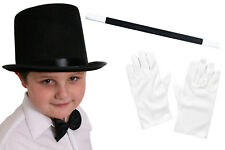 CHILDS TOP HAT WHITE GLOVES AND WAND MAGICIAN FANCY DRESS COSTUME SET MAGIC MAN